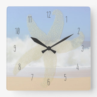 Crashing Waves Ocean Starfish Numbered Square Wall Clock