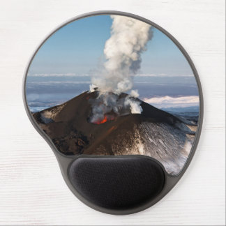 Crater erupting volcano: lava, gas, steam, ashes gel mouse mat