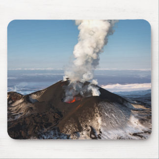 Crater eruption volcano: lava, gas, steam, ashes mouse mat