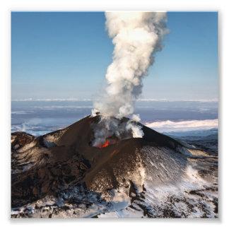 Crater eruption volcano: lava, gas, steam, ashes photo print