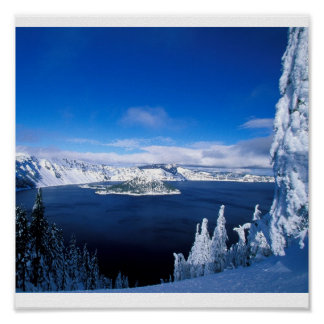 Crater Lake in Winter Oregon Poster