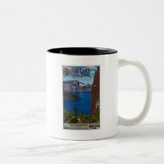 Crater Lake - Informational Poster Two-Tone Coffee Mug