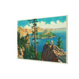 Crater Lake showing Wizard Island in distance Stretched Canvas Prints