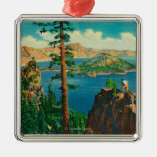 Crater Lake showing Wizard Island in distance Silver-Colored Square Decoration