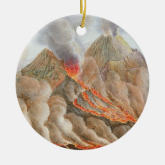 Crater of Mount Vesuvius from an original drawing Round Ceramic Decoration