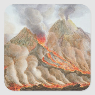 Crater of Mount Vesuvius from an original drawing Square Sticker