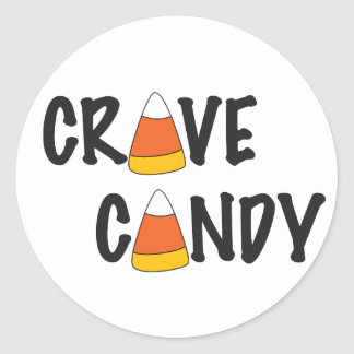 Crave Candy - Halloween Candy Corn Round Stickers