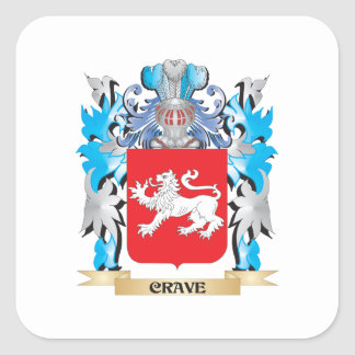 Crave Coat of Arms - Family Crest Square Stickers