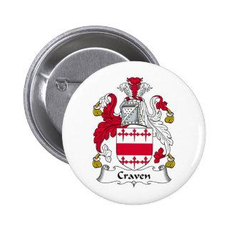 Craven Family Crest 6 Cm Round Badge