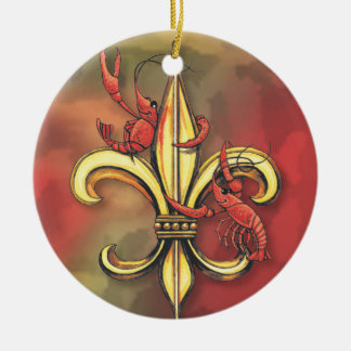 Crawfish & Alligator Fleur de Lis Christmas Ornament