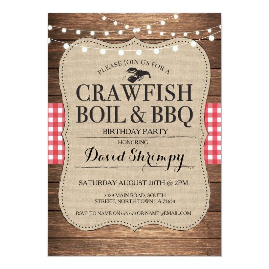 Crawfish Boil BBQ Birthday Party Lobster Invite