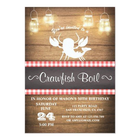 Crawfish boil invitation Rustic wood Birthday BBQ