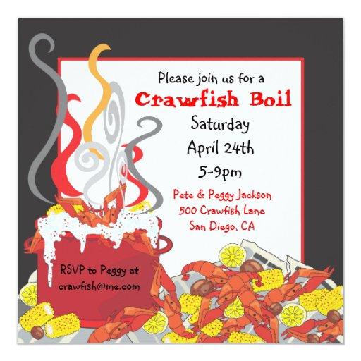 Crawfish Boil party invitation 13 Cm X 13 Cm Square Invitation Card