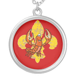 Crawfish/ Crayfish Fleur De Lis Silver Plated Necklace