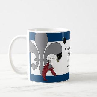 Crawfish Fleur de Lis Graduation Blue Silver Coffee Mug