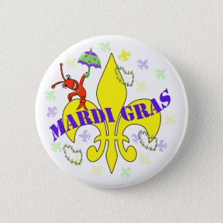Crawfish Fleur de Lys Mardi Gras 6 Cm Round Badge