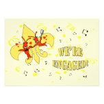 Crawfish Gold Fleur de Lis Engagement Party Personalized Announcement
