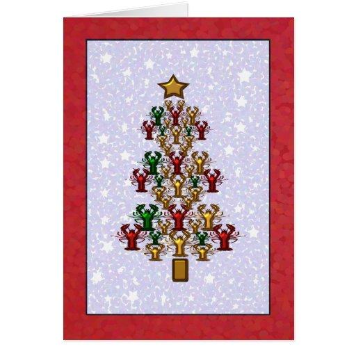 Crawfish Lobster Christmas Tree Stars Greeting Card