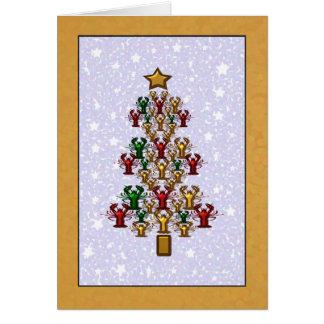 Crawfish Lobster Christmas Tree Stars (gold) Greeting Card