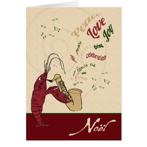 Crawfish Lobster Jazz Christmas Greeting Card