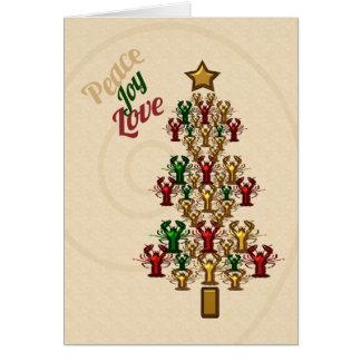 Crawfish Lobster Peace Love Joy Christmas Tree Greeting Card