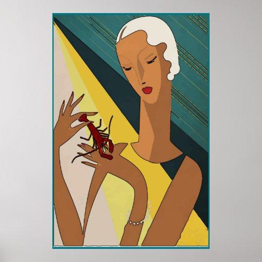 Crawfish Pinch Tail Art Deco Poster