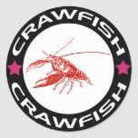 crawfish-ring (red-1) 丸形シール・ステッカー