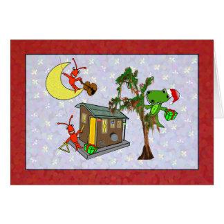 Crawfish Santa Alligator Cajun Bayou Christmas Greeting Card