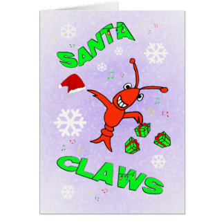 Crawfish Santa Claws Christmas Greeting Card