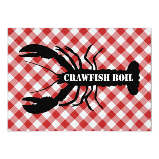 Crawfish Silo on Red & White Checked Cloth Boil 13 Cm X 18 Cm Invitation Card