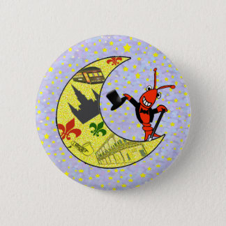 Crawfish Top Hat Crescent Moon 6 Cm Round Badge