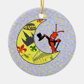 Crawfish Top Hat Crescent Moon Christmas Ornament