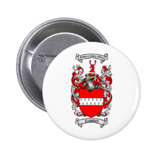 CRAWFORD FAMILY CREST -  CRAWFORD COAT OF ARMS 6 CM ROUND BADGE