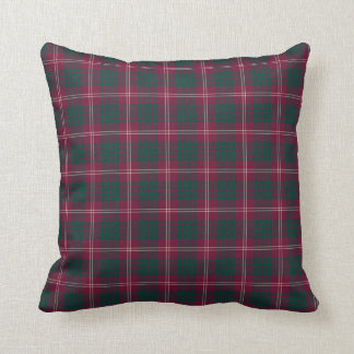 Crawford Family Maroon and Green Tartan Throw Pillow