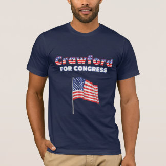 Crawford for Congress Patriotic American Flag Desi T-Shirt