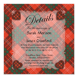 Crawford Scottish clan tartan - Plaid 5.25x5.25 Square Paper Invitation Card