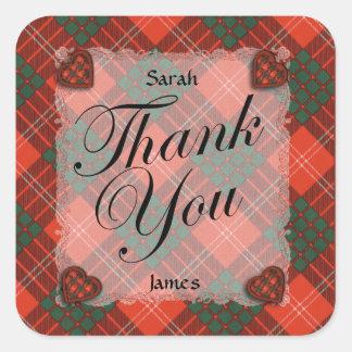 Crawford Scottish clan tartan - Plaid Square Sticker