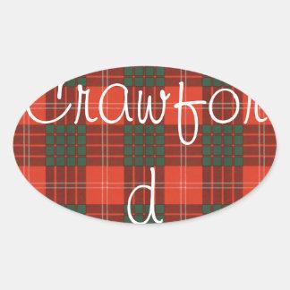 Crawford Scottish Tartan Oval Sticker