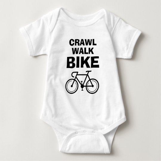 Crawl Walk Bike funny biking baby bodysuit
