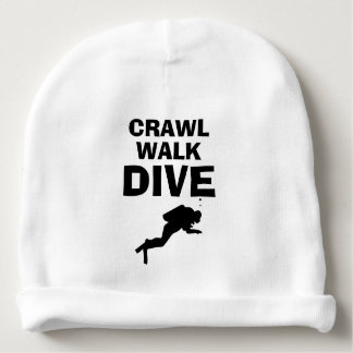 CRAWL WALK DIVE funny diving baby beanie hat