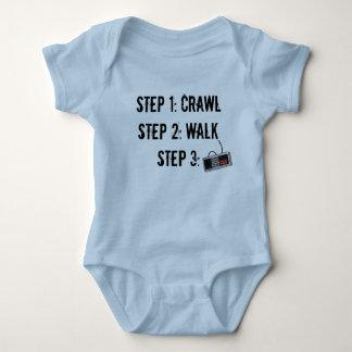 """Crawl Walk Game"" Blue Infant Crawler Baby Bodysuit"