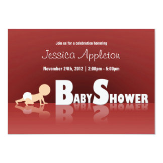 "Crawling Baby Reflection Baby Shower Invitations 5"" X 7"" Invitation Card"
