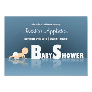 "Crawling Baby Reflection Baby Shower Invitations 5"" X 7"" Invitation Card"