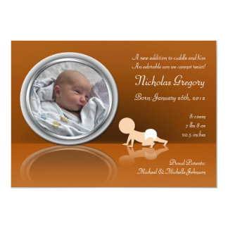 "Crawling Baby Reflection Birth Announcements 5"" X 7"" Invitation Card"