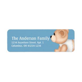Crawling Teddy Bear Baby Blue 1 Address Labels