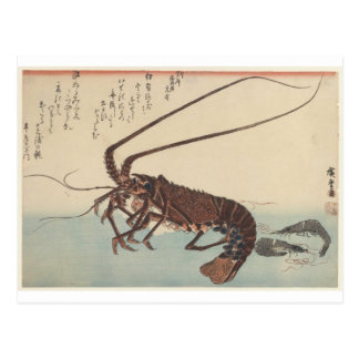 Crayfish and two shrimps by Hiroshige Postcard