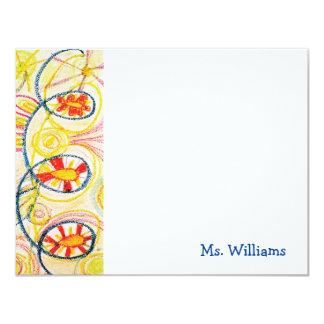 Crayon Art Flat Notecards 11 Cm X 14 Cm Invitation Card