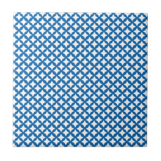 Crayon Blue And White Seamless Mesh Pattern Small Square Tile
