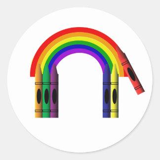 Crayon Color a Rainbow Sticker