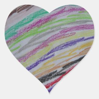 Crayon Drawn Lines Heart Sticker